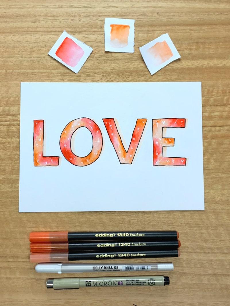 Postal de San Valentín con efecto degradado