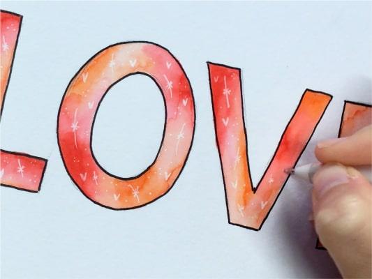 detalles lettering San Valentín
