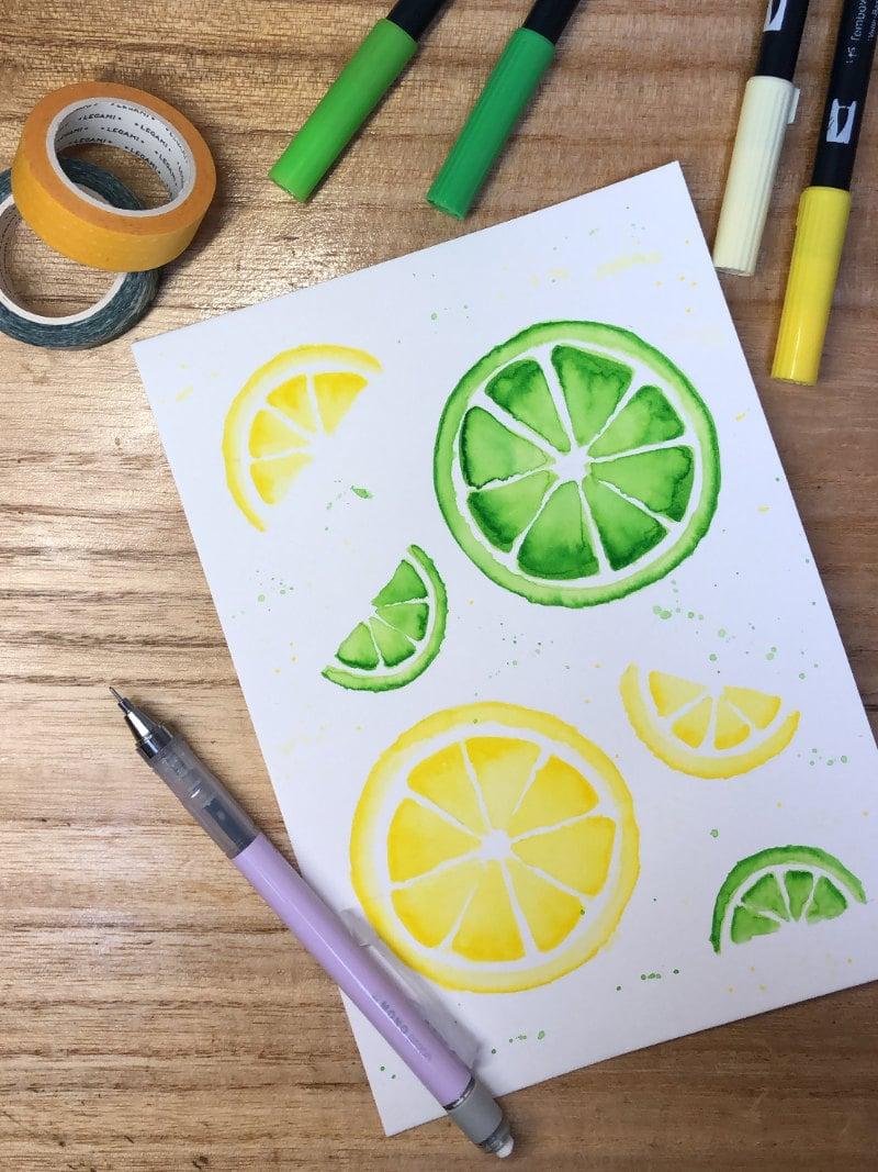 Dibujar paso a paso limón y lima