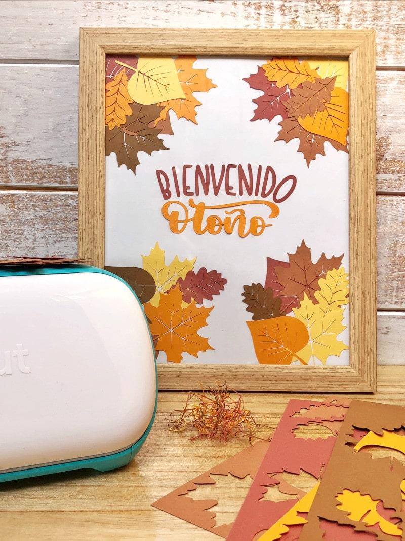 Bienvenida Otoño – Plantilla hojas y lettering